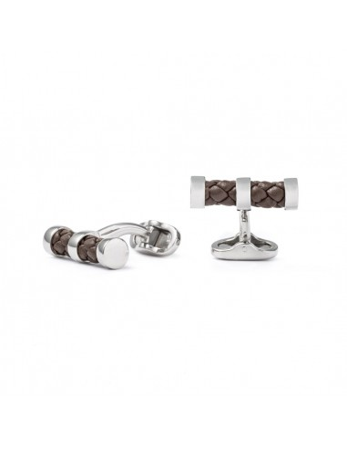 Cylinder Cufflinks with Braided Leather - Brown by Mon Art Florence