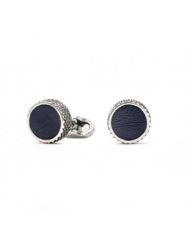 Round Cufflinks with Leather - Black by Mon Art Florence