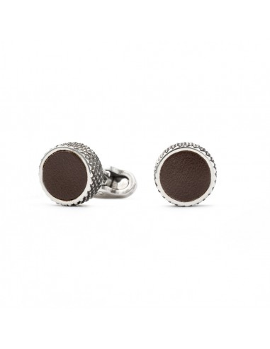 Round Cufflinks with Leather - Brown by Mon Art Florence
