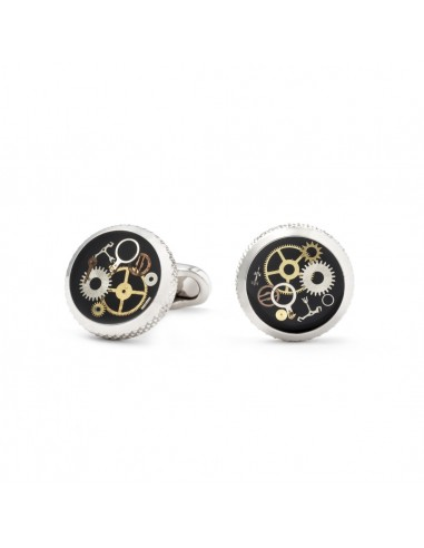 Round Black Cufflinks with Clock Gears by Mon Art Florence