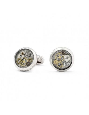 Round Grey Cufflinks with Clock Gears