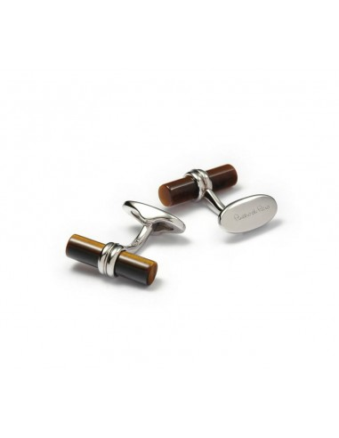 Tiger's Eye Stick Silver Cufflinks
