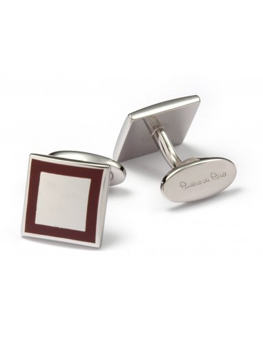 Square Silver Cufflinks with Enamel Edge