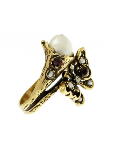 Butterfly and pearl ring by Alcozer & J Florence
