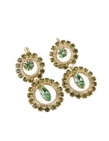 Circle Delight Earrings with Drop - Green by Monnaluna Florence Italy