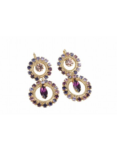 Circle Delight Earrings with Drop - Violet by Monnaluna Florence Italy
