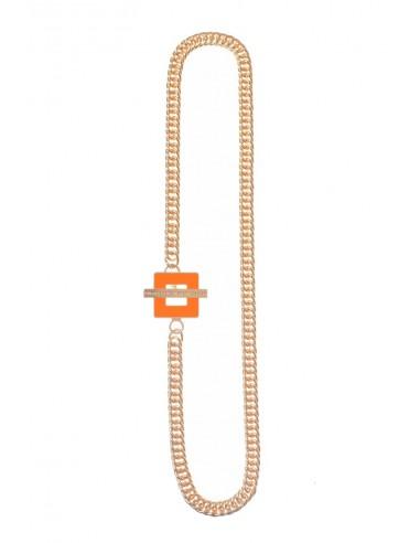 T-BAR QU Necklace - Orange by Francesca Bianchi Design Arezzo Italy 1